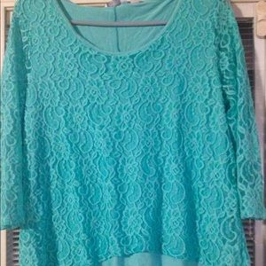 Medium lace high low top turquoise